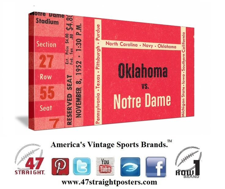 #OU vs. Notre Dame football tickets. 1952 #Oklahoma #Sooners vs. #NotreDame #Irish football ticket canvas art. This was OU's first nationally televised game in school history. Heisman winner Billy Vessels scored 3 Touchdowns for the Sooners, but Notre Dame won 27-21 in South Bend.  #ND #collegefootball