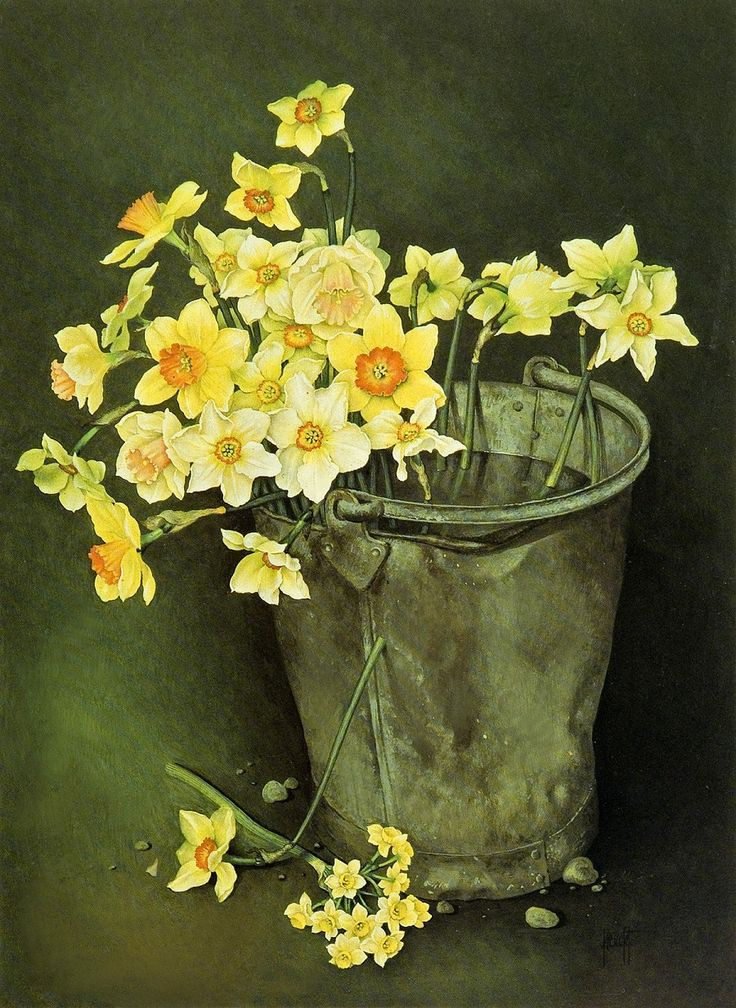 Jose Escofet - Bucket of mixed daffodils and narcissi - Gouache on paper, 1989