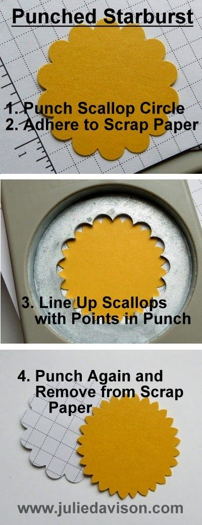 Create a starburst or sunburst design using a Scallop Circle Punch! #stampinup www.juliedavison.com