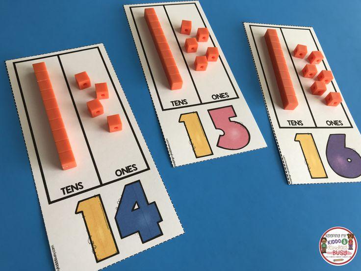 TEEN NUMBERS - decomposing teen numers using base ten blocks - place value practice #kindergartenmath #kindergarten