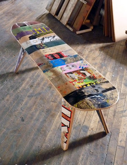 Skateboard Bench – 60″ Three seater. Modern Recycled Skateboard Furniture designed and handmade by Deckstool