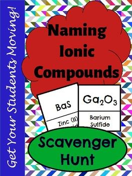 Get your students moving with this scavenger hunt activity to practice naming ionic compounds. This product includes 36 questions with mixed practice of basic ionic compounds, ionic compounds including polyatomic ions, and ionic compounds including transition metals.   The best way to learn how to write and name compounds is through repeated practice. This product helps to break up the routine of worksheets.   Included in this product: 36 scavenger hunt cards Student answer sheet Answer key…
