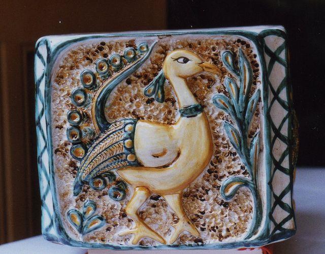 cachepot pavone, modellato a mano