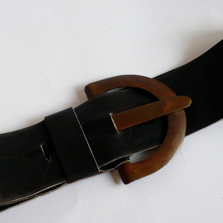 Vintage 1980's thick black leather belt big brass metal buckle