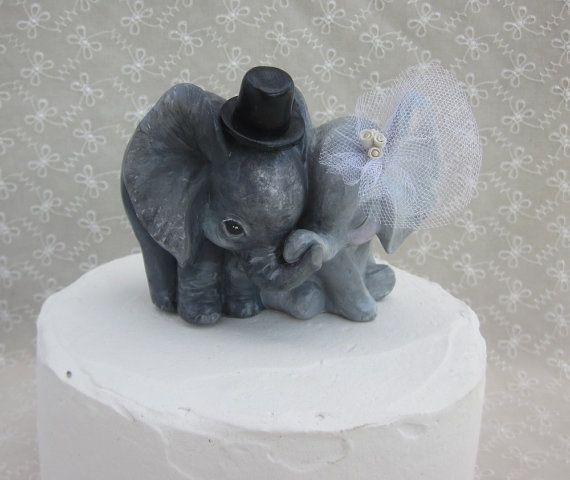 Sweet Elephant Wedding Cake Topper by Thequirkycorncrib on Etsy, $50.00