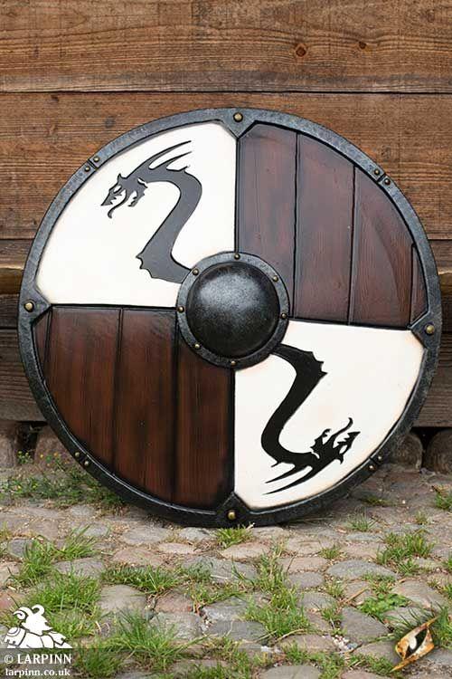 Viking White Dragon Larp Shield 80cm - Wood