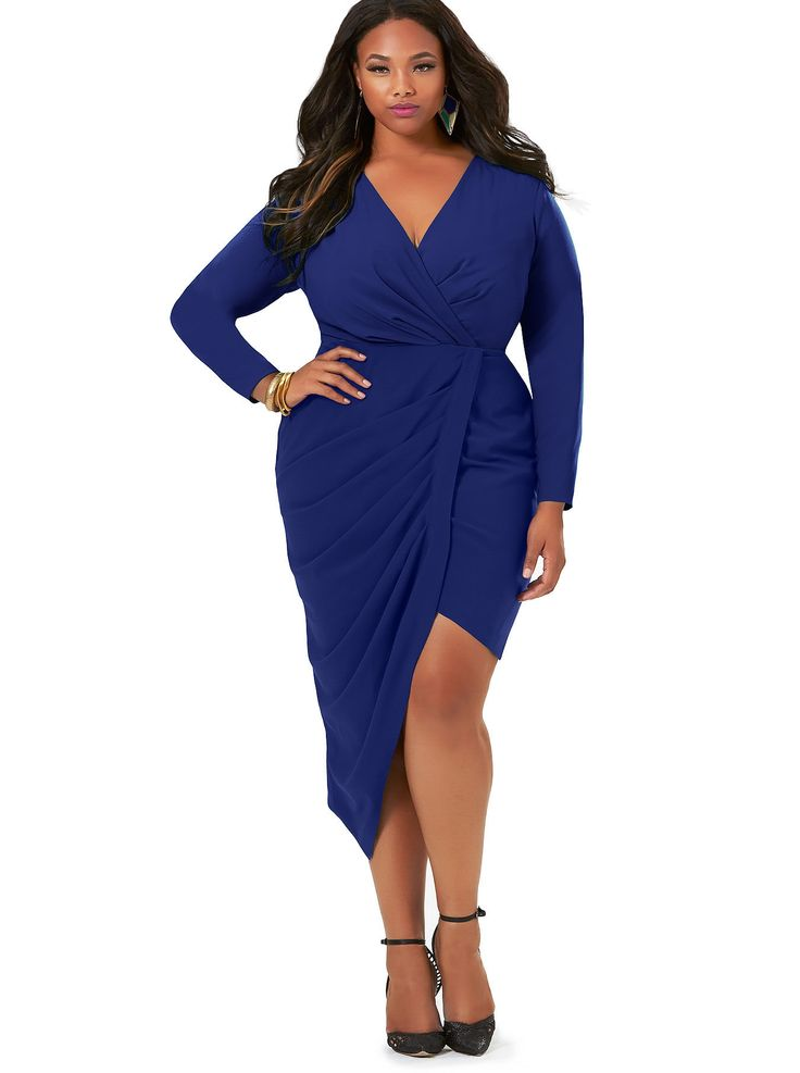 "the ""jenna"" asymmetrical draped dress in royal by monif c. this"