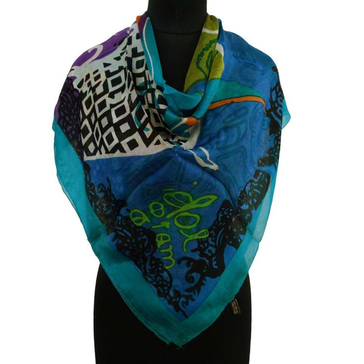 Multicolor Pure Silk Scarf Abstract Print Women Summer Shoulder Wrap 40? X 40? ..this is img