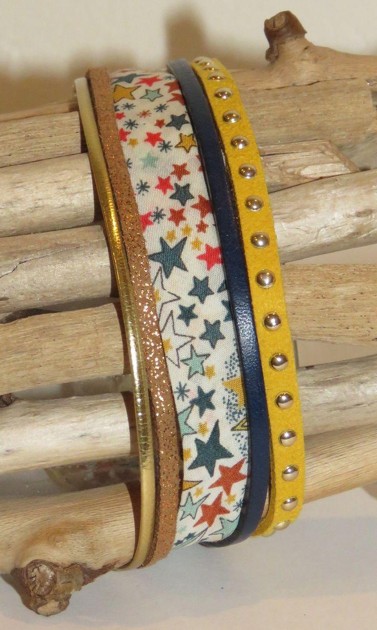 """Bracelet Manchette """"liberty étoiles"""" en cuir, biais, suédine cloutée coloris or, moutarde, bleu marine et marron : Bracelet par pimprenelle-coccinelle-creations"""