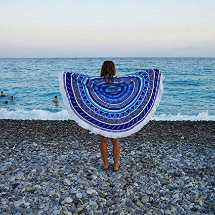 Amazon.com: Vacation Sunshine Bath Hiking Camping Picnic Home Window DaySeventh Round Hippie Tapestry Beach Throw Roundie Mandala Towel Yoga Mat Bohemian Style (Mint Blue, Free): Home & Kitchen