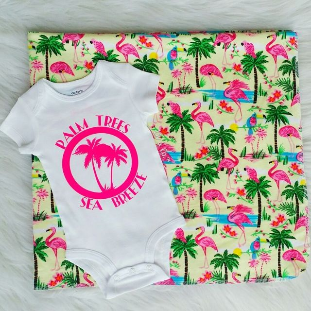 Handmade 32x32 palm tree & flamingo flannel baby swaddle blanket & our signature 'palm trees and sea breeze' baby bodysuit. The blanket is the perfect receiving blanket to wrap your newborn girl in when she arrives, and because of it's generous size, will last your little gal well into her toddler years.