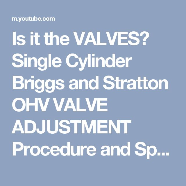 Is it the VALVES? Single Cylinder Briggs and Stratton OHV VALVE