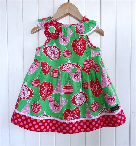 """Christmas Ornament """"Nelle"""" Dress Size 2-3y & 4-5y Red Green Pink Lace"""