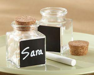 'Chalkboard' Glass and Cork Favor Jars-Set of 12 (27076NA) - loose leaf tea