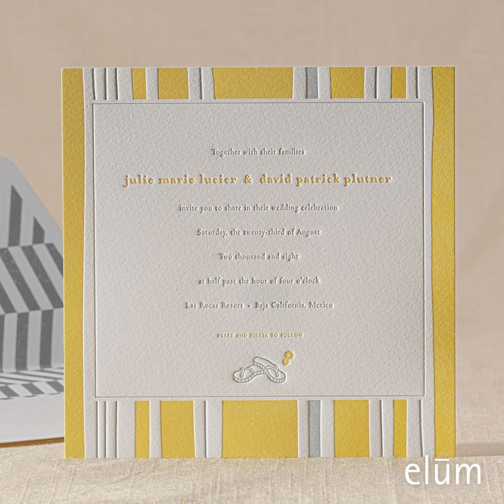 letterpress wedding invites london%0A Beach Blanket letterpress wedding invitation from Elum Designs  Customize  yours with Paper Passionista