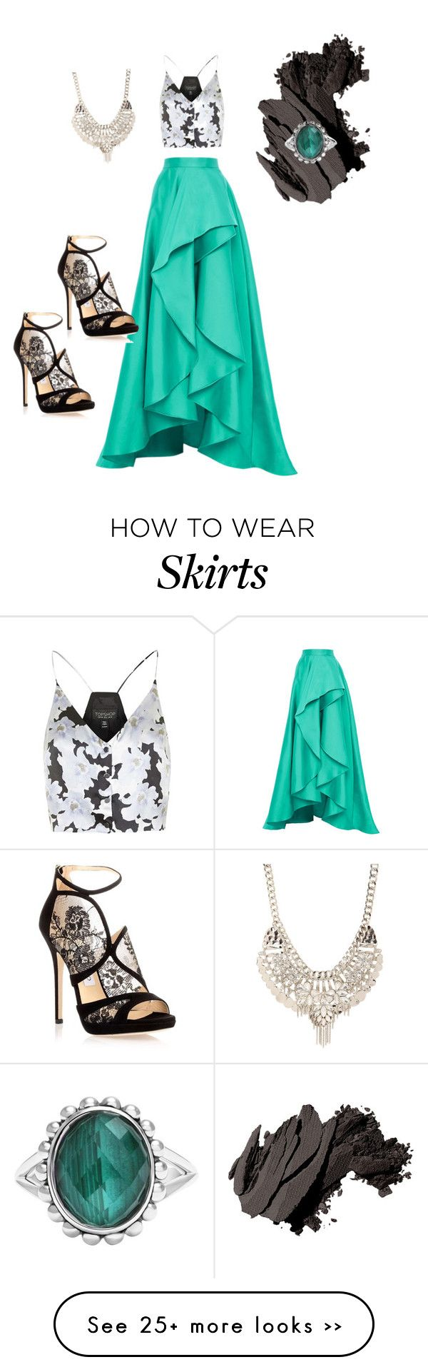 """Skirt the top..."" by rituukocchar on Polyvore featuring Monique Lhuillier, Topshop, Jimmy Choo, Bobbi Brown Cosmetics and Jane Norman"