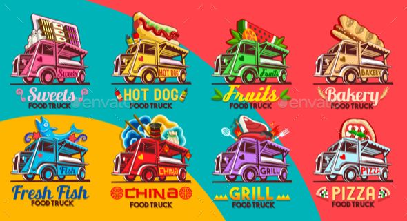 Fast Food Truck Van Restaurant Delivery Icon Vector Logo Pack