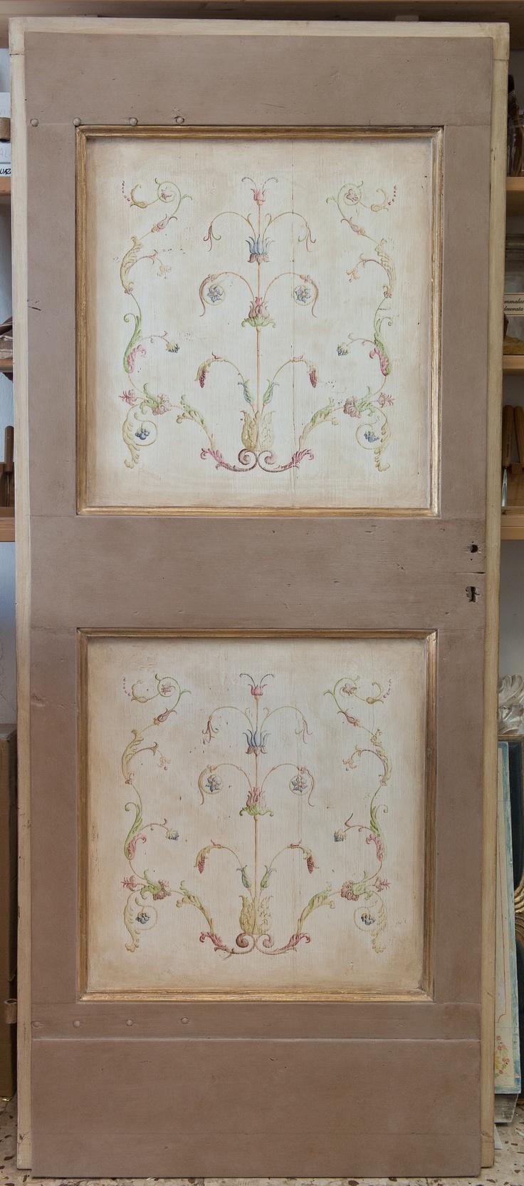 """Decorated door"" . Laquered with natural pigments."