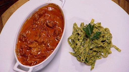 Beef Stroganoff with Parsley and Black Pepper Fettuccine