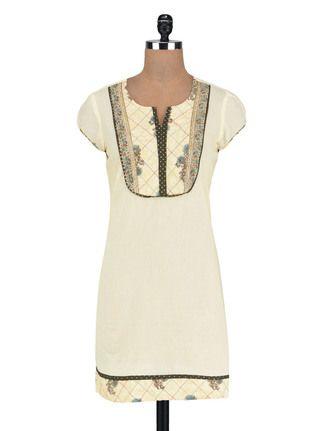Buy Vastra Vinod Off white Cotton Kurta Online, , LimeRoad