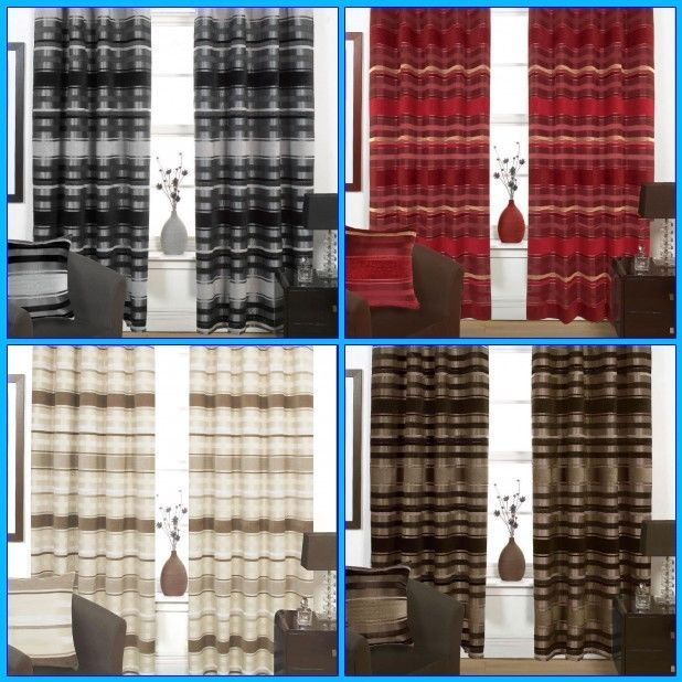 Ready Made Eyelet Fully Lined Modern Curtains Choice of 4 Colours