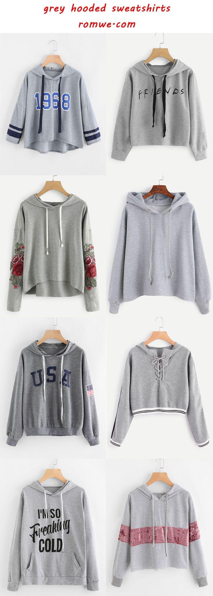 grey hooded sweatshirts 2017 from romwe.com