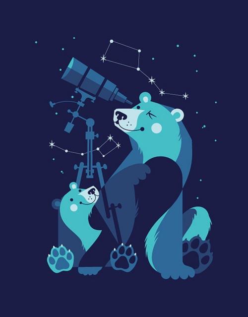Ursa Major / Ursa Minor by Gumbolimbo. Bears using telescope. Page no longer exists