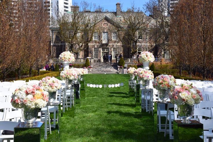 Wedding ceremony flowers & decorations at the Graydon Hall Manor in Toronto