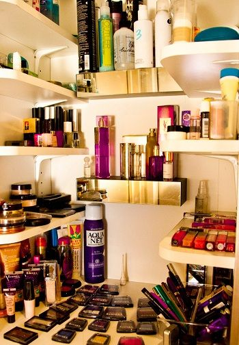 makeup shelves in closet