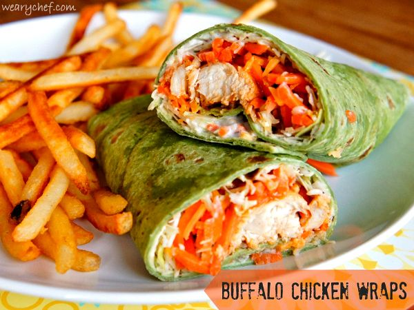Buffalo Chicken Wraps   15-minute dinner recipe perfect for busy weeknights!  Instead of the chicken, use cauliflower buffalo recipe