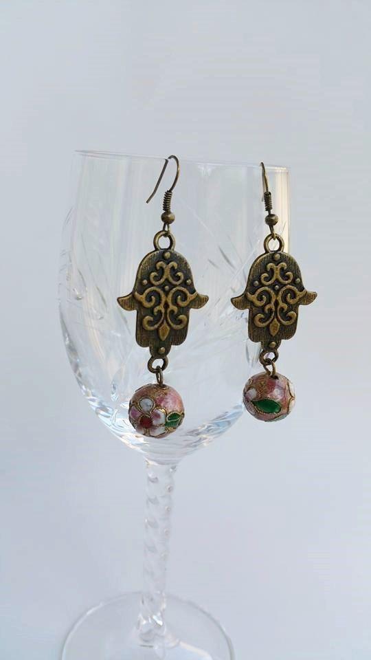 Dangle Earrings  hamsa earrings  hand of fatima  by TresJoliePT