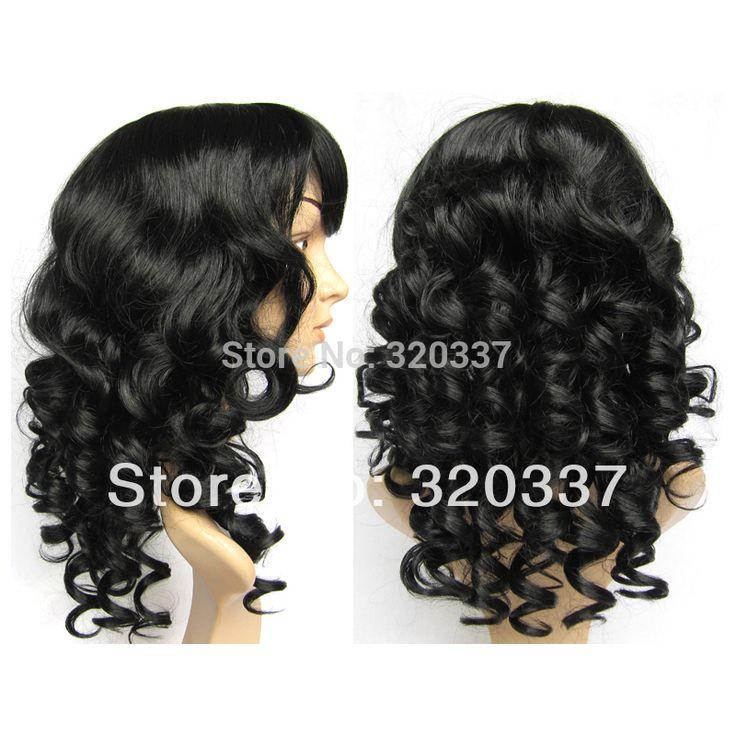 For Sale Curly Wig Hair Full Head Wigs Synthetic Hair 1# Jet Black Wig Extensions Synthetic Wigs for Women Free Shipping