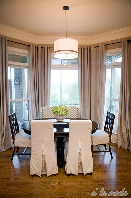 Curtains In A Bay Window I Need To Find This Rod Dining Room