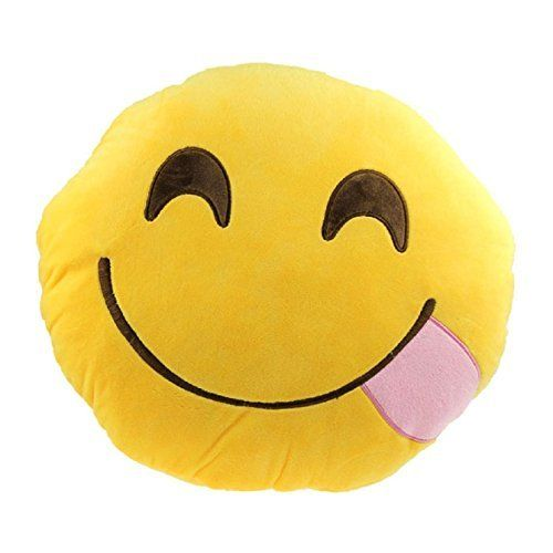 Emoji Silly Smiley Emoticon Cushion Pillow Stuffed Plush Toy Doll (Smiley Tongue) ** Check this awesome product by going to the affiliate link Amazon.com at the image.