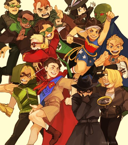 Kid Justice League - I LOVE how Superman is a Boyscout and oh my gosh batman!!! ^_^