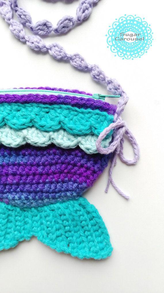 Turchese viola Mermaid Tail Zipper Bag  uncinetto kawaii