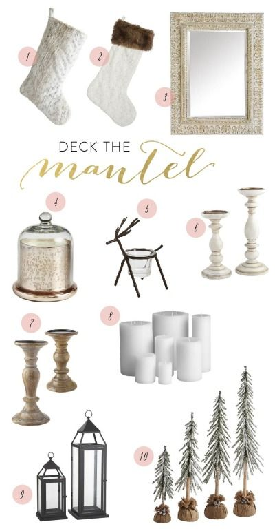 All of the items you need to deck the mantel from Pier 1 Imports: http://www.stylemepretty.com/living/2014/11/19/deck-the-mantel-with-pier-1-imports/
