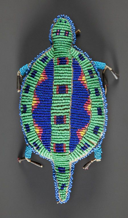 A SIOUX BEADED HIDE FETISH. c. 1890.  (Top View)