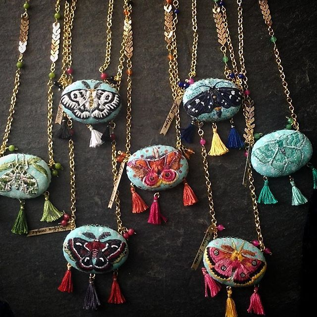 ''7 days/7 moths'' serie it's done, ready to be listed! At first they were suposed to be brooches... but I decided double necklaces it would be a better option! So, here they are, all 7! Which one shall I keep? #moth #collection #mothcollection #entomology #bohemian #gypsy #boho #beach #festival #necklace #pendant #affordablefashion  #accessories #handmadejewelry #ooak #unique #dailyembroiderychallenge  #blackcatcreativestd #etsy