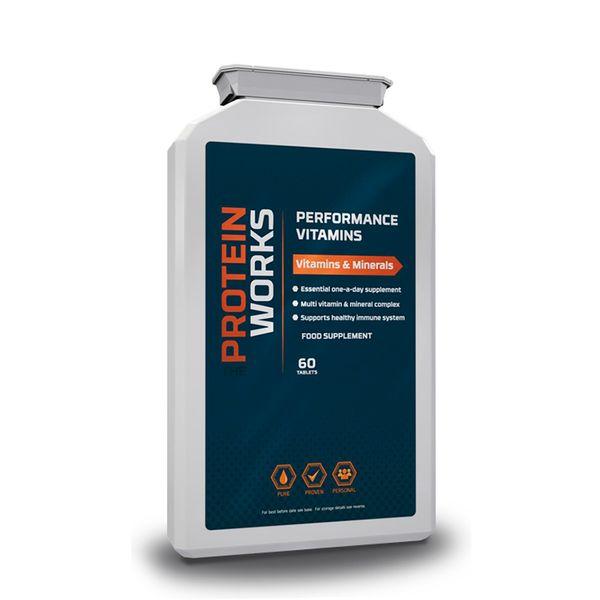 Performance Vitamins - The Protein Works - Benefícios Chave - Fórmula Científica de Vitaminas e Minerais. - 100% da Dose Diária Recomendada de vitaminas e minerais. - Melhora o teu sistema imunitário. - Dá um upgrade ao teu desempenho físico.