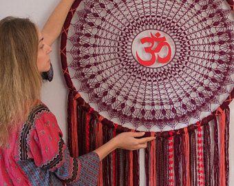 Giant dreamcatcher, yoga art, OM wall hanging, yoga wall decor, photo prop, bohemian decor, yoga meditation gift Purple and Orange