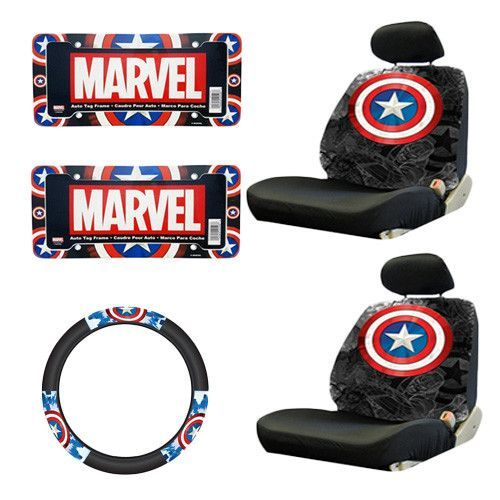 Marvel Comics Captain America Seat Covers W Steering Wheel Cover License Plate Frames 7 Pc Combo