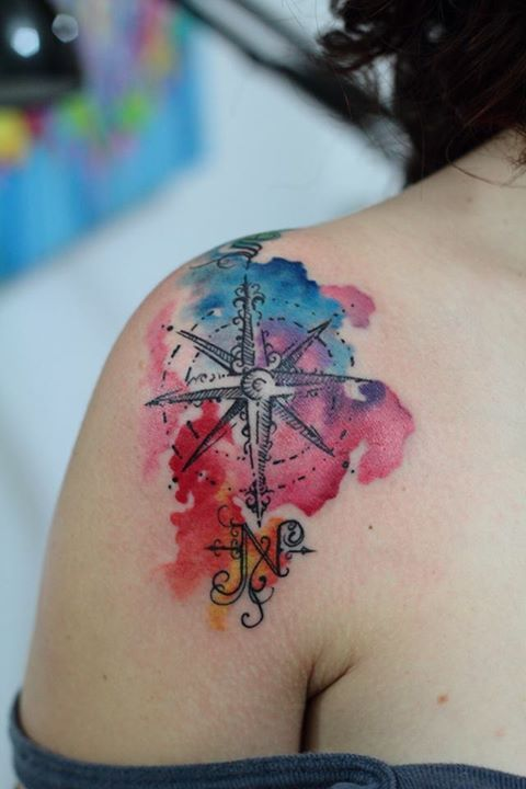 Watercolor Compass. Done at Studio Lotus, Campinas-SP, BRAZIL. Deborah (Deh) Soares. More : facebook.com/studiolotustatuagem