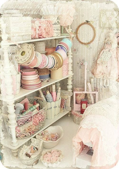 A Shabby Chic Workroom - How Pretty. #DIYHomeDecorShabbyChic