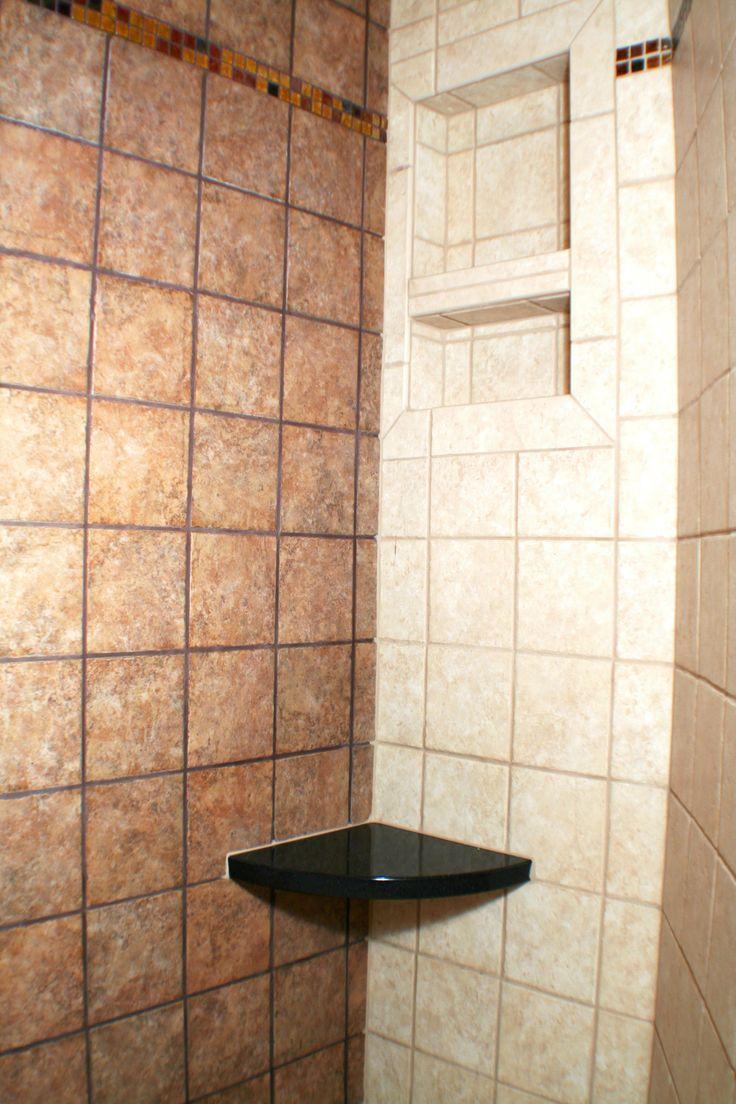 Small corner bench idea shower niche