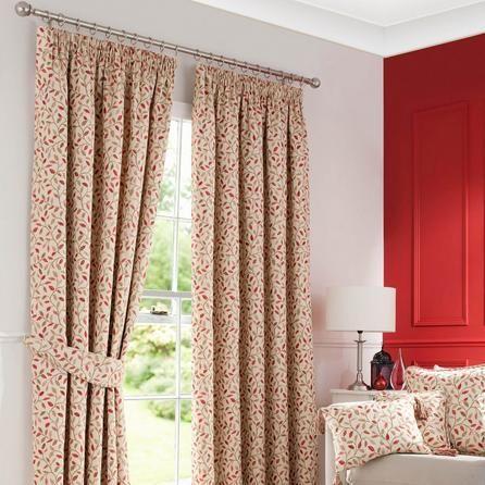 Dunelm Floral Classic Terracotta Orange Heritage Glava Lined Pencil Pleat Curtains