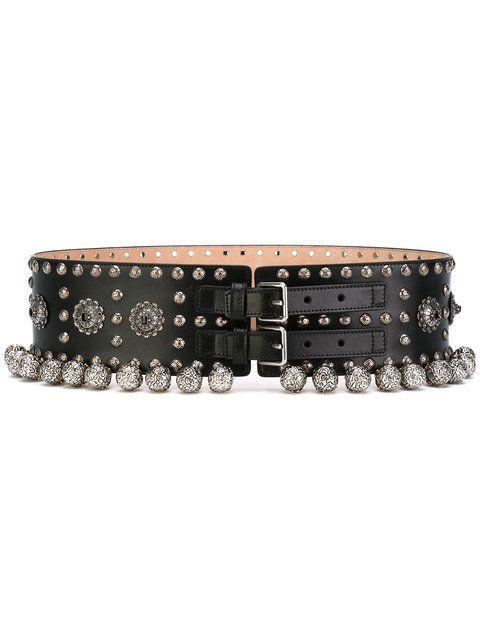 Shop Alexander McQueen embellished belt.