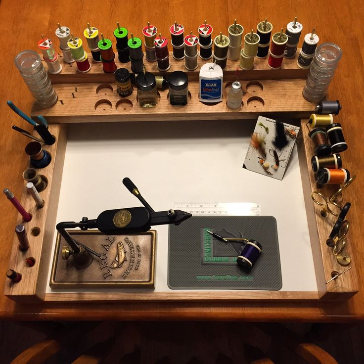 My homemade fly tying station loaded with my tools