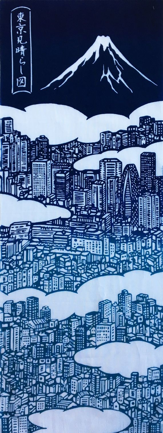 This is a Japanese tenugui cotton Fabric with a image of the city of Tokyo noren tapestry, FABRIC DESCRIPTION Traditional towel Tenugui using nassen method hand-dye. Size: 90x35,5cm (35,5x14inch) Cotton100 percent, made in Japan If you are interest in a beautiful hanger for
