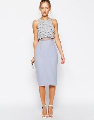 ASOS COLLECTION ASOS Pearl Embellished Crop Top Midi Dress - Shop for women's Dress - babyblue Top